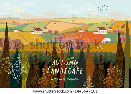 Vector illustration of a rural autumn landscape or farm with houses, pets, trees and grass. Freehand drawing of a sunny summer day in the village. #1445647181