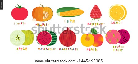 Food patterns - vegetable and fruit, flat vector illustration with lettering - tomato, pumpkin, corn, raspberry, lemon, apple, watermelon, pomegranate, apricot, dragon fruit #1445665985