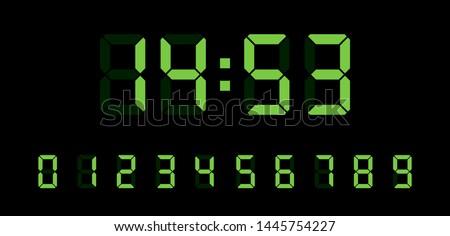 Digital clock number set. Electronic figures. Vector illustration. Royalty-Free Stock Photo #1445754227