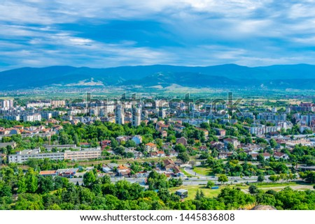 Rodopi mountains viewed behind Bulgarian city Plovdiv #1445836808