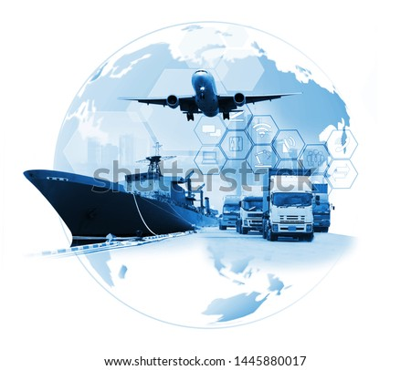 The world logistics , there are world map with logistic network distribution on background and Logistics Industrial Container Cargo freight ship for Concept of fast or instant shipping #1445880017