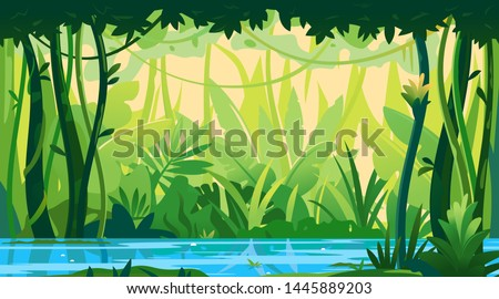 River flows through the jungle around different plants and trees with lianas, wildlife of tropical forest flooded with water, illustration of equatorial jungle, rainforest background Royalty-Free Stock Photo #1445889203