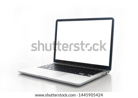 Blank screen notebook, laptop on isolated white background.