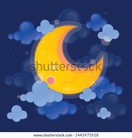 Cute character vector illustration. Moon and cloud on dark sky background. #1445973518