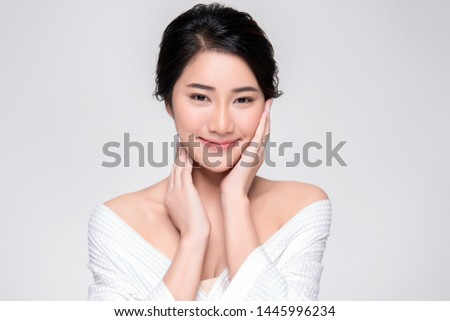 Beautiful Young Asian Woman with Clean Fresh Skin touch own face, Facial treatment, Cosmetology, beauty and spa, #1445996234