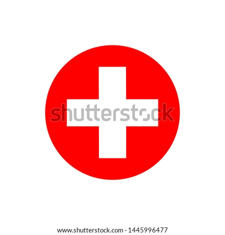 Flat minimal medical cross icon. Simple raster medical cross icon. Isolated medical cross icon for various projects.