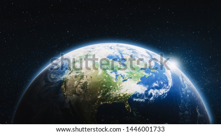 United States of America from space. Elements of this image furnished by NASA. 3d rendering #1446001733
