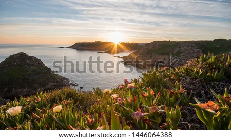 sunset at Noirmont on Jersey, Channel Island  Royalty-Free Stock Photo #1446064388