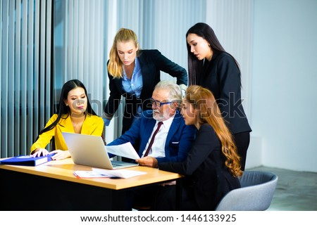 business teamwork Concept. Successful group of business people at work in office #1446133925