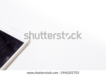 Phone, broken phone or broken screen Place isolated with a white background. #1446202703