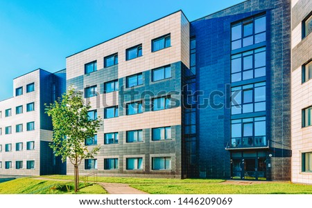 EU Complex of modern residential building with children playground as other outdoor facilities. Toned #1446209069