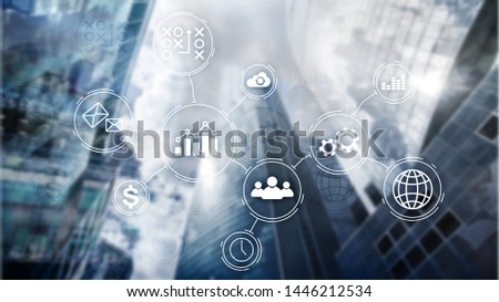 Business process automation concept on blurred background. #1446212534