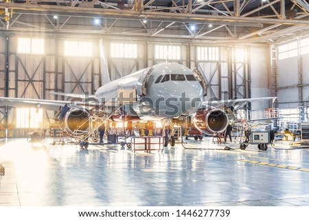 View inside the aviation hangar, the airplane mechanic working around the service Royalty-Free Stock Photo #1446277739