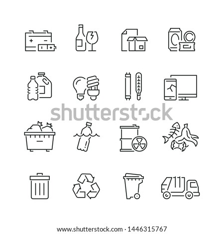 Trash related icons: thin vector icon set, black and white kit #1446315767