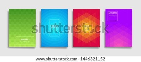 bright fresh gradient color abstract pattern background cover design. cool modern background design with trendy and vivid vibrant color. blue violet red orange green placard poster vector template. #1446321152