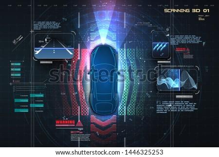 Automatic braking system avoid car crash from car accident. Concept for driver assistance systems. Autonomous car. Driverless car. Self driving vehicle. Future concepts smart auto. HUD, GUI, hologram  #1446325253