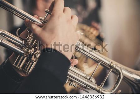The musician plays a brass instrument - Trumpet #1446336932