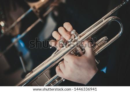 The musician plays a brass instrument - Trumpet #1446336941