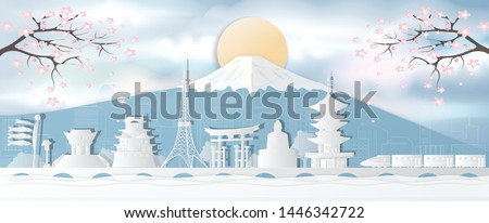 Japan's world-famous landmark, autumn seasons, postcards, panoramic tours, advertising posters In the form of paper cut style - vector