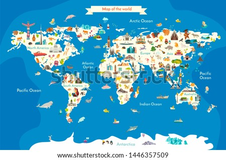 Animals world landmarks map for kid. World poster for children, cute illustrated. Cartoon globe with animals. Oceans and continent: South America, Eurasia, North America, Africa, Australia #1446357509