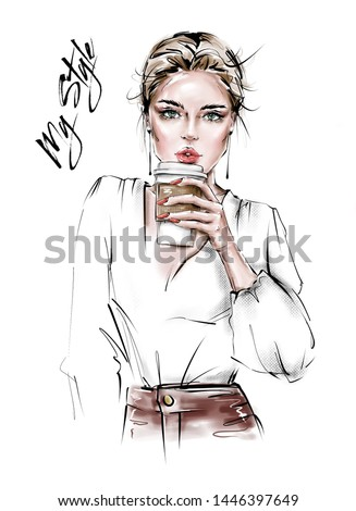Hand drawn beautiful young woman with plastic coffee cup in her hand. Stylish girl. Fashion woman look. Sketch. Fashion illustration.