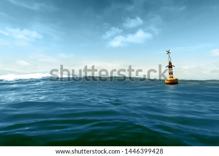 A yellow buoy drifts in the swell against a blue sky Royalty-Free Stock Photo #1446399428