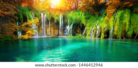 Exotic waterfall and lake landscape of Plitvice Lakes National Park, UNESCO natural world heritage and famous travel destination of Croatia. The lakes are located in central Croatia (Croatia proper). #1446412946