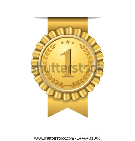 Award ribbon gold icon number first. Design winner golden medal 1 prize. Symbol best trophy, 1st success champion, one sport competition honor, achievement leadership, victory Vector illustration #1446431006