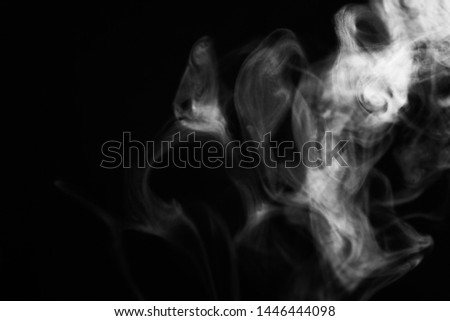 white smoke overlay effect on solid super black background Nature motion smoky steam wave abstract environment pollution, cloud, cigarette, gas, dry ice, chemistry, factory and ghost concepts #1446444098