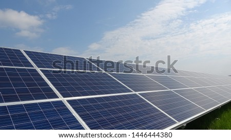 Solar panels and blue sky. Solar panels system power generators from sun. Clean technology for better future. Photovoltaic panel system. #1446444380