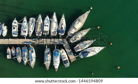 Aerial top view photo of boats docked in Mediterranean destination port marina #1446594809