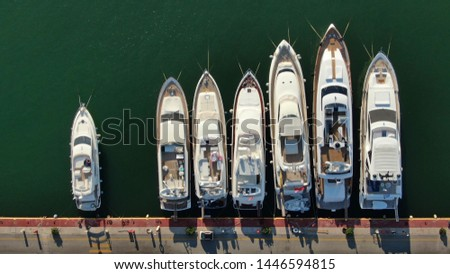 Aerial top view photo of boats docked in Mediterranean destination port marina #1446594815
