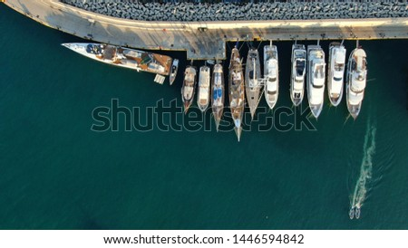 Aerial top view photo of boats docked in Mediterranean destination port marina #1446594842
