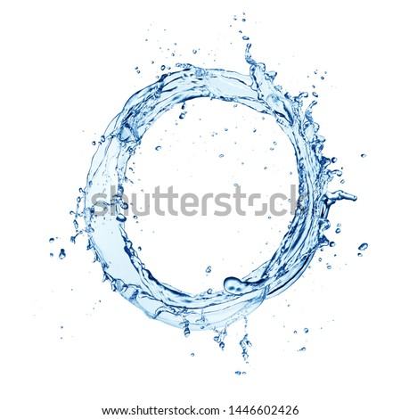 Water circle splash isolated on white background. Abstract closeup shape.