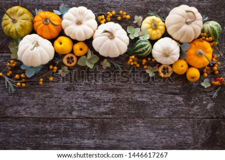 Wooden background with pumpkins, flowers, decor and space for text.