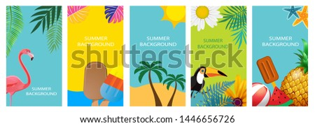 Collection set of social media stories design templates summer backgrounds. Vector Illustration EPS10 #1446656726