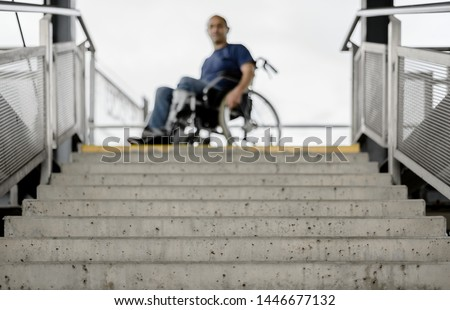 Wheelchair user at stairs concept accessible barrier free disability access #1446677132