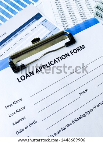 Loan application form document with graph on table #1446689906
