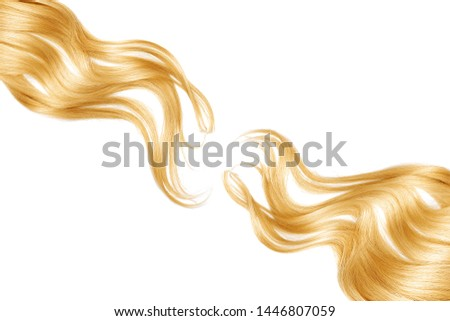 Blond shiny hair as background. Copyspace #1446807059