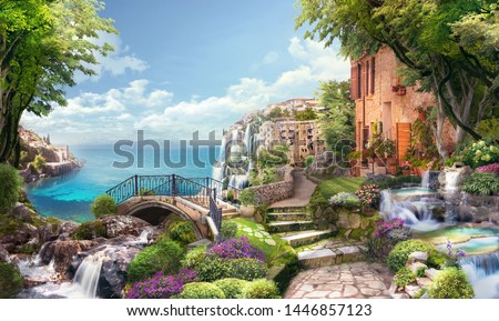 Beautiful collage with access to the sea, the ancient houses of Italy, flowers and waterfalls. Digital collage , mural and fresco. Wallpaper. Poster design. Modular panno. 3d render