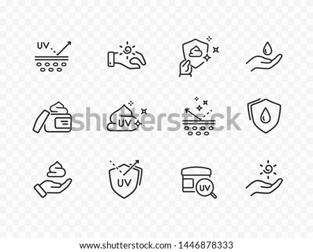 Skin care line icons isolated on transparent background. Vector set of sun lotion, medical cream elements, protection skin outline stroke icons. Royalty-Free Stock Photo #1446878333