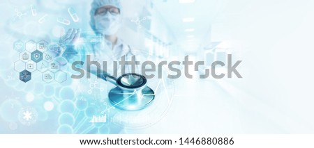 Stethoscope, Medicine doctor analysis DNA, brain and Digital healthcare on network connection on hologram modern virtual screen interface, biotechnology, medical technology and network concept.