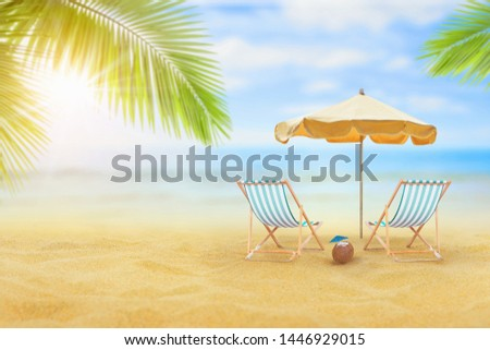 Empty sand beach in front of summer sea  with copy space  #1446929015