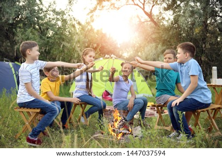 Children roasting marshmallow on fire at summer camp #1447037594