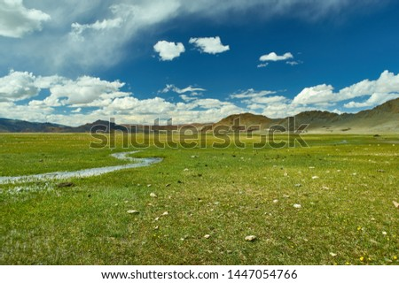 Mongolian Altai.  Scenic valley on the background of the snowcapped mountains. #1447054766