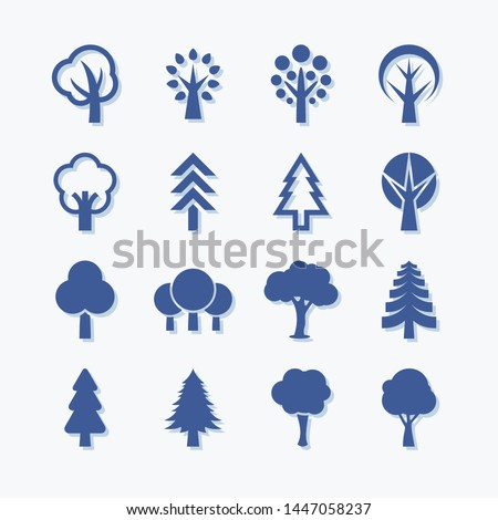 Flat vector trees set. Pictogram style. Flat forest and park icon - stock vector. #1447058237