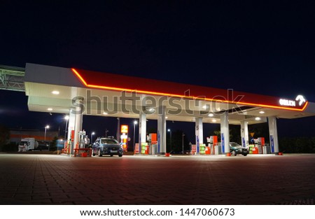 Krakow, Poland - July 4, 2019: ORLEN fuel and gas station at night. PKN Orlen is a major Polish oil refiner and petrol retailer. #1447060673
