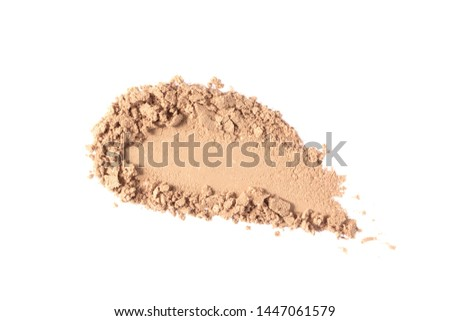 Makeup powder texture isolated on white background. Nude broken eye shadow smear. Crushed light beige foundation powder swatch.  Skin tone face cosmetic product sample #1447061579