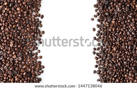 Roasted coffee beans on white background with copy space #1447138046