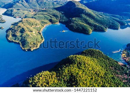 Aerial image of Blind Channel, West Thurlow Island, Desolation Sound, British Columbia, Canada Royalty-Free Stock Photo #1447221152